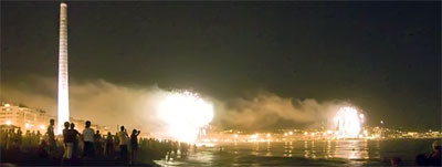 Fireworks of Malaga Fair, views from the Beach