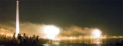 Fireworks of Malaga Fair, views from the Beach