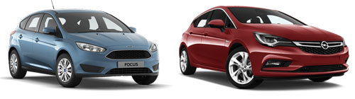 Group DA: Ford Focus automatic, Opel Astra automatic